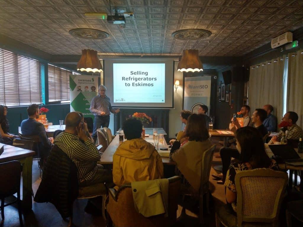 Nigel T Packer speaking at Swansea Digital Marketing meetup