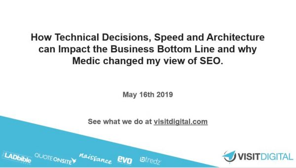 How technical decisions, speed and architecture can impact the business bottom line and why Medic changed my view of SEO | Swansea Digital Marketing meetup